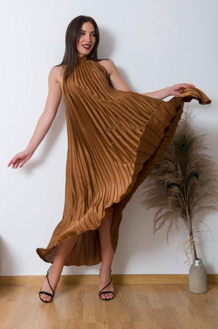 Σατέν Πλισέ Φόρεμα